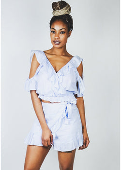 *Blue | White Ruffle Set | LAST ONE