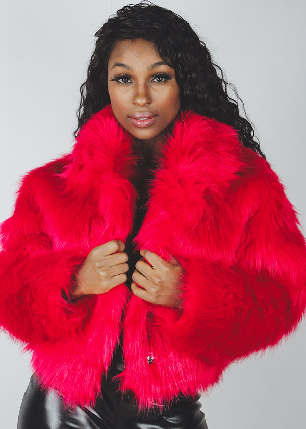 *Red Faux Fur Bomber | LAST ONE