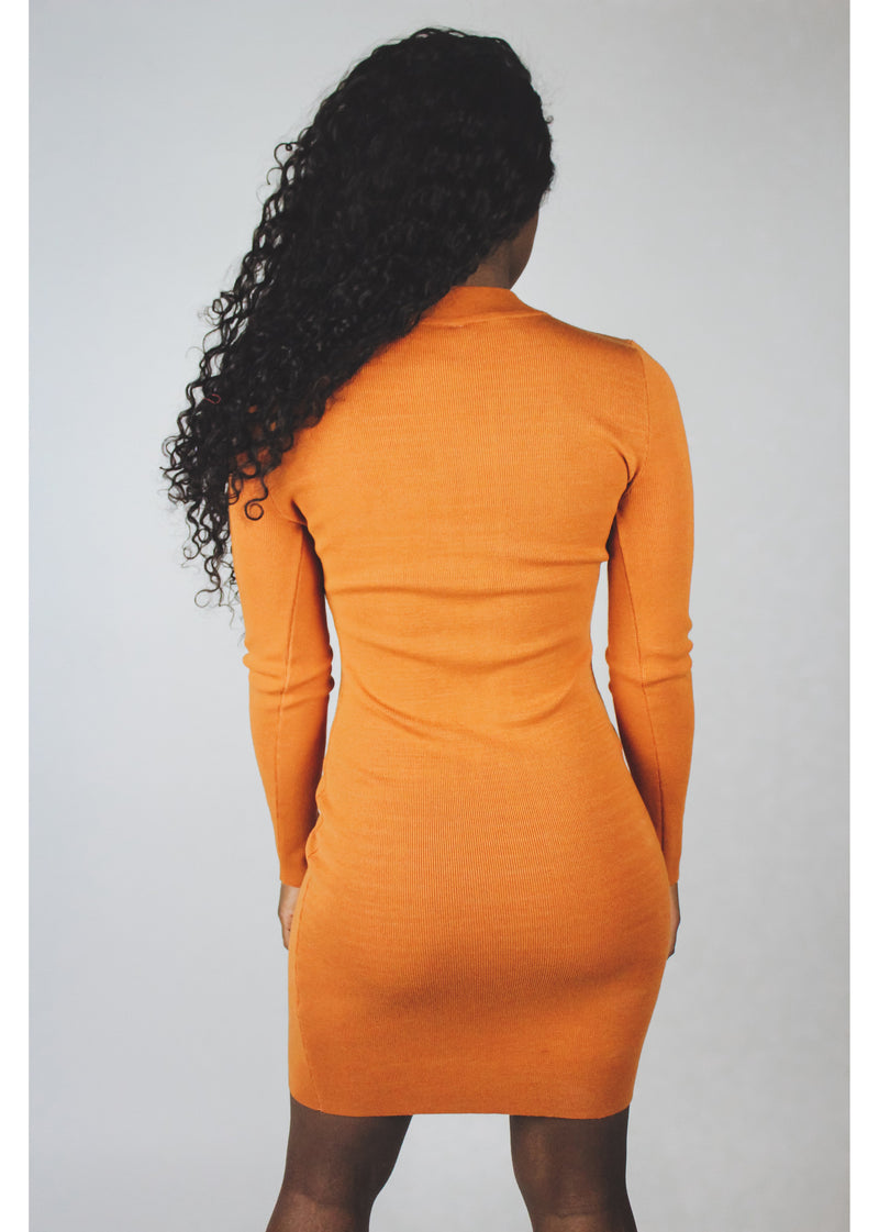 Orange Keyhole Dress