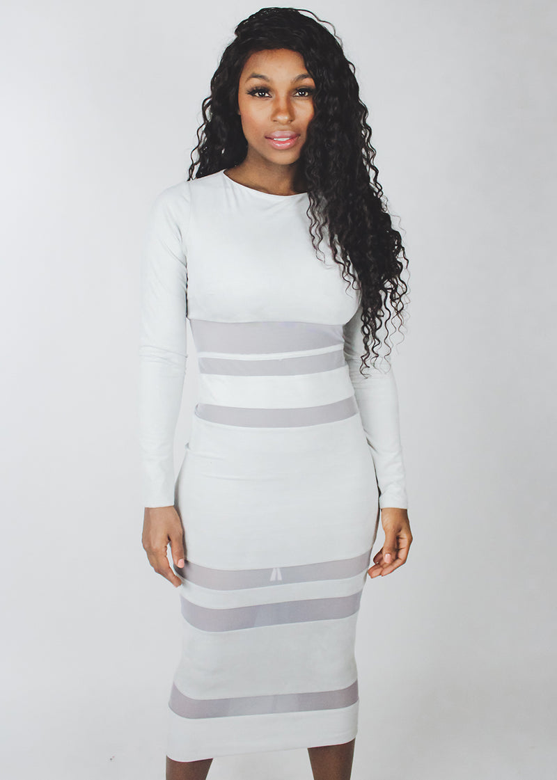 *Grey Suede Mesh Dress