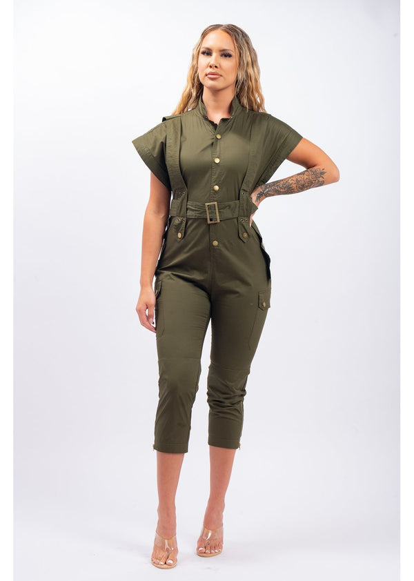 A Work Of Art Jumpsuit | Olive