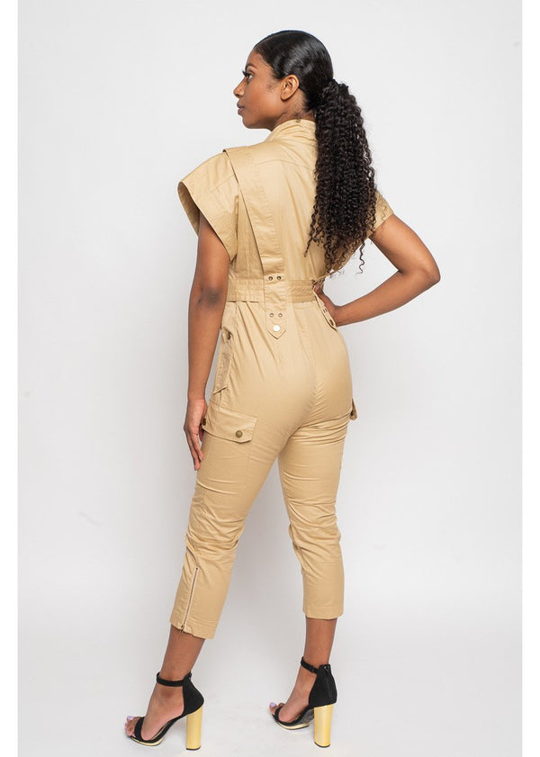 A Work Of Art Jumpsuit | Tan