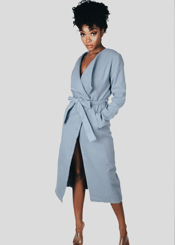 *Slate Blue Wool Coat | LAST ONE