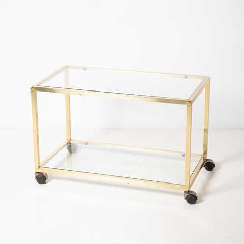 1970s BRASS & GLASS COFFEE TABLE