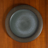 VINTAGE MODERNIST UNGLAZED CERAMIC STONEWARE PLATE WITH DOTS