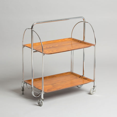 MID CENTURY MODERN 2-TIERED FOLDABLE PLYWOOD SERVING TROLLEY