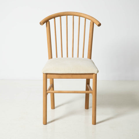 SOLID WOOD CHAIRS WITH WOOL UPHOLSTERY
