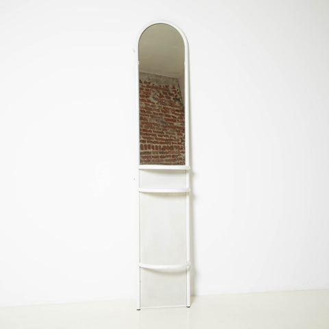 MINIMALIST WHITE METAL MIRROR WITH SHELVES