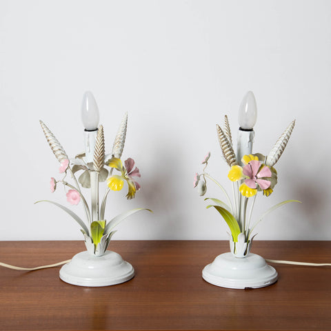 1960's ITALIAN TOLE METAL FLORAL NIGHTSTAND LAMPS