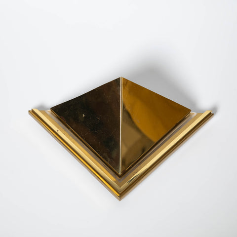 HOLLYWOOD REGENCY TRIANGULAR BRASS SCONCE
