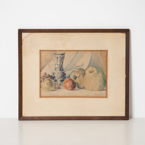 LARGE STILL LIFE WATER COLOR WITH QUINCES