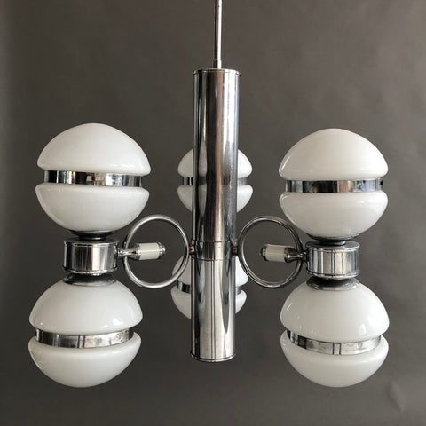 ITALIAN MID CENTURY MODERN CHROME AND GLASS CHANDELIER
