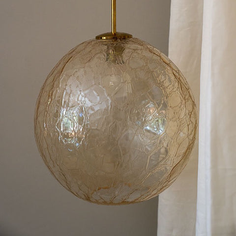 XXL MID CENTURY MODERN CRACKLED SMOKEY GLASS GLOBE PENDANT LAMP