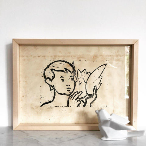 MODERNIST LITHOGRAPH WITH CHILD AND BIRD