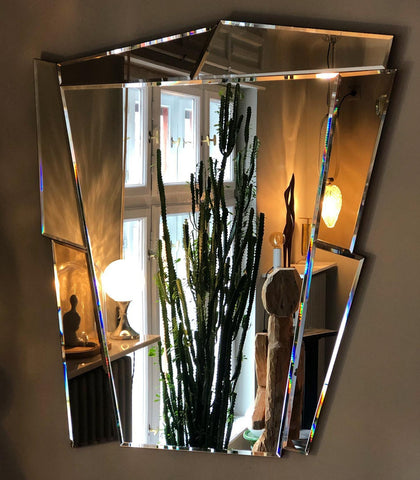 POST MODERN 1980S LARGE BEVELLED MIRROR WITH BLUE INSERTIONS