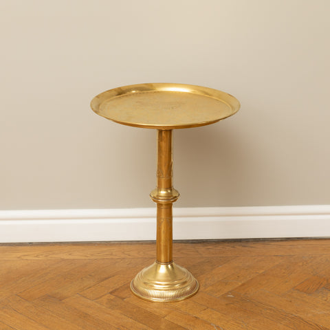 ANTIQUE SOLID ENGRAVED BRASS MOROCCAN PEDESTAL TEA TABLE