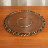 VINTAGE CLEAR GLASS ROUND PLATTER / TRAY WITH GLASS BEAD EDGE