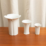 SET OF THREE MID CENTURY MODERN TULIP SHAPED WHITE VASES