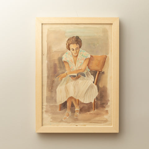 VINTAGE WATERCOLOR PAINTING OF READING LADY ON PAPER