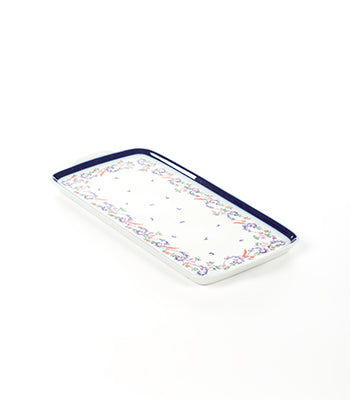 RECTANGULAR BLUE-RIMMED HAND PAINTED PORCELAIN TRAY