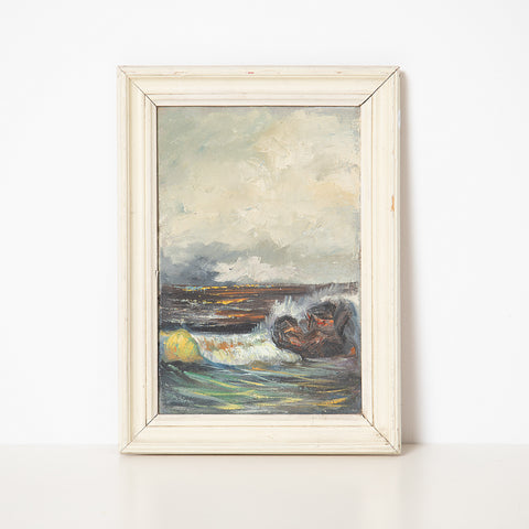 MARINE OIL ON CARDBOARD WITH WOOD FRAME