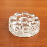 VINTAGE HEAVY TEXTURED CLEAR GLASS CANDLE HOLDER