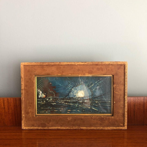 OIL ON LEATHER MARINE LANDSCAPE IN LEATHER FRAME