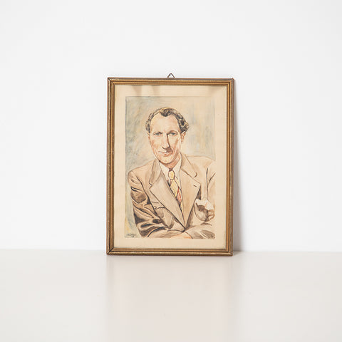 1950s WATERCOLOR PORTRAIT OF MAN