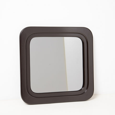 SQUARE WOOD FRAME SMOKY GLASS MIRROR