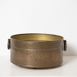 LARGE, HEAVY SOLID BRASS CONTAINER / FLOWER POT