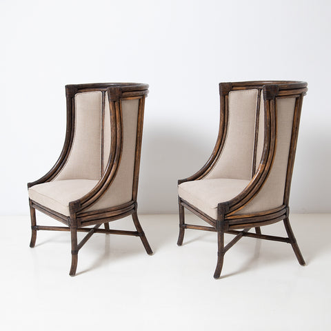 SET OF TWO ANTIQUE BERGERE BAMBOO ARMCHAIRS