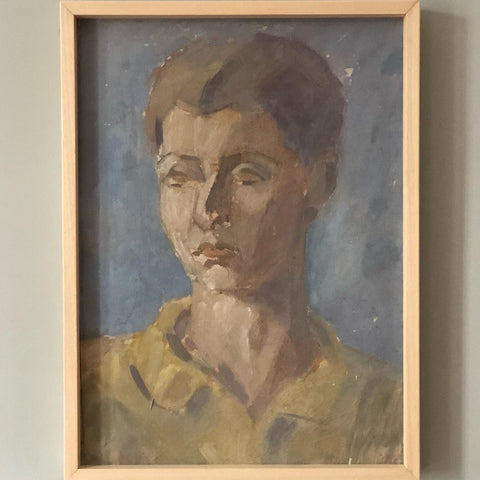 PORTRAIT OF A LADY , OIL ON CARDBOARD