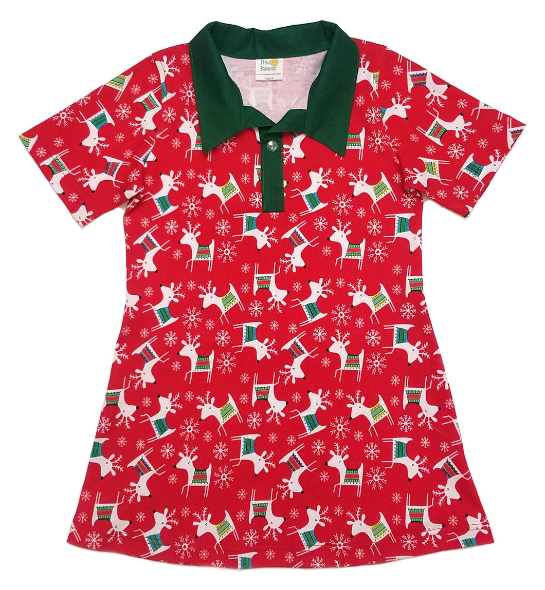 Polo Dress, Short sleeve, Reindeer