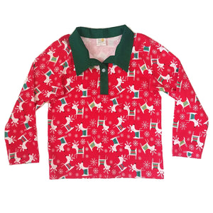 Polo Shirt, long sleeve, reindeer
