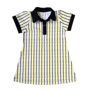 Puff Sleeve Polo Dress, triangle stripe, organic cotton