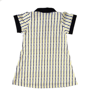 Puff Sleeve Polo Dress, triangle stripe, organic cotton, back