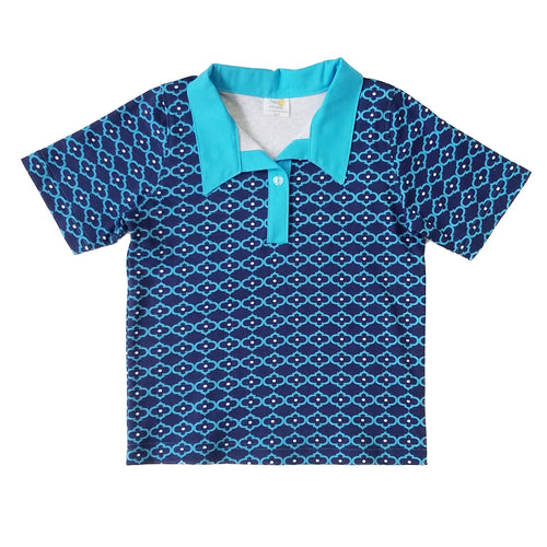 Boys Polo Shirt, Blue Quatrefoil, organic cotton
