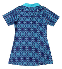 Girls Short Sleeve Polo Dress, Blue Quatrefoil, organic cotton, back