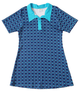 Girls Short Sleeve Polo Dress, Blue Quatrefoil, organic cotton