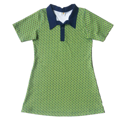 Short Sleeve Polo Dress, Blue Diamonds on Green, organic cotton