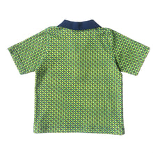 Boys Polo Shirt Back, Blue Diamonds on Green, organic