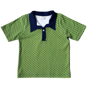 Boys Polo Shirt, Blue Diamonds on Green, organic