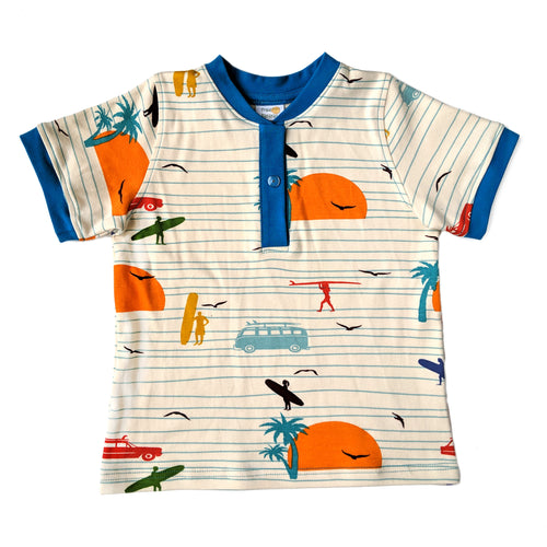 Boys Henley Shirt, Surfers, organic cotton