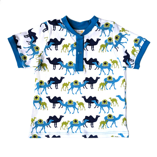 Boys Henley Shirt, Blue Camels, organic cotton
