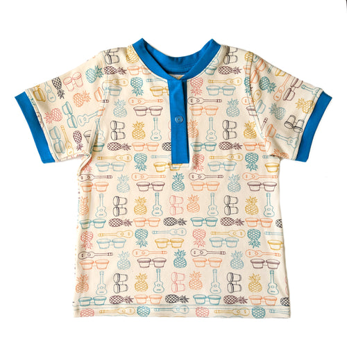 Boys Henley Shirt, Bongos & Guitars, organic cotton