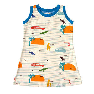 Girls Sleeveless T-Shirt Dress, Surfers, organic cotton