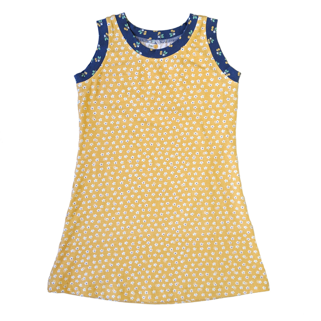 Sleeveless T-Shirt Dress, Yellow flowers