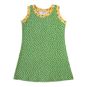 Sleeveless T-Shirt Dress, Green flowers