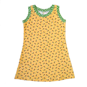 Sleeveless T-Shirt Dress, Yellow Cherries
