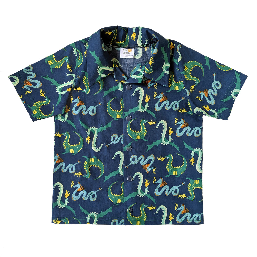 Snap-up dress shirt, dragons, organic cotton